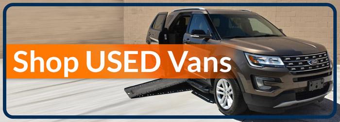 "Used wheelchair vans for sale in Florida reads ""Shop Used Vans"""